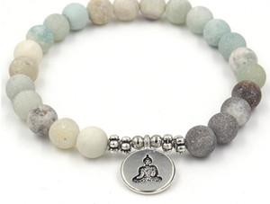 8 mm VV22 élastique ajustée pierre naturelle de charme arbre de vie Lotus Bouddha tête givré Charm Chakra de guérison du Reiki équilibre Bracelet