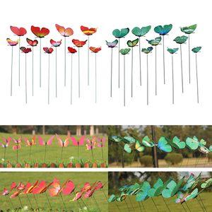 24X 가든 야드 화분 다채로운 기발한 나비 말뚝 분재 꽃 침대 냄비 장식