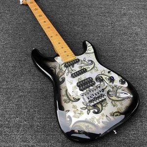 2020 de alta calidad pegatinas de doble cara ST guitarra eléctrica, diapasón con incrustaciones de cinco estrellas, de doble puente vibrato moviendo