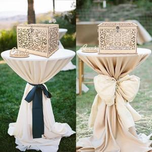 Boîte à cartes de mariage Décorations de fête d'anniversaire Fournitures Boîte à cartes en bois rustique avec serrure DIY tirelire cadeau pour les clients