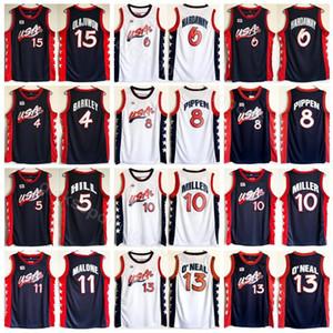 1996 US Dream Three Basketball 11 Maillot Karl Malone Hommes Bleu Marine Blanc 5 Grant Hill 10 Reggie Miller 13 Shaquille O'Neal