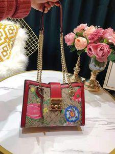 As novas flores único genuíno couro bolsa Bolsas de Ombro Cadeia Imprimir Moda Joker Contratadas Bag Feminino As bolsas de grife
