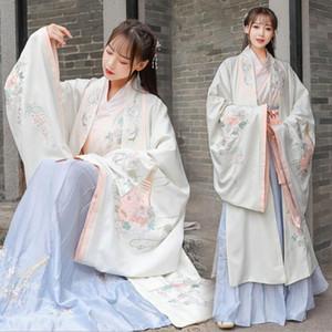 Традиционный оригинальный дизайн вышитого креста воротника свежих фея древние случайные производительности формального этапа 3-х части костюма Hanfu женщин