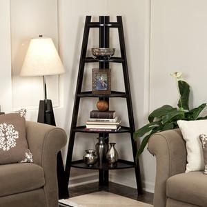 Waco Ladder угловая полка, 5 уровня дерева книжная полка витрина стойки стойки завода держатель гостиной спальня книжный шкаф мебели хранения черного цвета