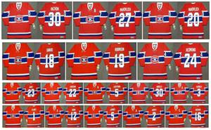 Vintage Montreal Canadiens Jersey 5 Guy Lapointe 1 Jacques Plante 12 Dominic Moore 2 Doug Harvey 16 Henri Richard Bob Gainey Hockey su misura