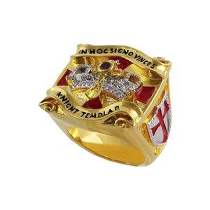 2020 Altın mason Tapınakçılar halkalar erkekler toplama mason şampiyonluk yüzüğü parti hediye ücretsiz kargo damla nakliye knights