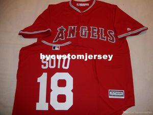 """Barato costume MAJESTIC # 18 geovany SOTO """"COOL BASE"""" Jérsei de basebol Red Mens costurado jerseys Big e tamanho Alto XS-6XL Venda"""
