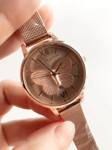 Luxury Fashion Women Watch Leather Stainless Steel Strap Lady Big Rose Gold Butterfly Dial Wristwatch Famous Women Dress Hour Free Shipping