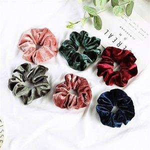Kadın Kadife Scrunchies Katı Saç Halka Kravatlar Kız Ponytail Tutucular Lastik Bant Elastik Hairband Saç Aksesuarları Şapkalar