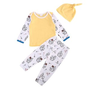 3pc Kleinkind-neugeborene Kind-Kind-Baby-Baby-Kleidung Baumwolle Langarm Casual T-Shirt Tops + Pants Outfits Set Kleidung 0-24M