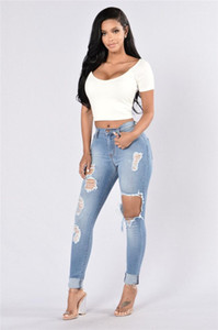 Washed Distrressed Jeans Fashion Hole Pencil Pants Casual High Waist Long Pants Females Clothing Womens Designer