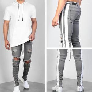 Homme d'été Hombres Jean Pantalons Pantalon Ripped cintrée à rayures rue Skinny Mens Designer Jeans Printemps