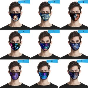Starry sky 3D dustproof fashion printing ice silk boys girl kid masks adult  face mask cotton mask reuseable washable free shipping