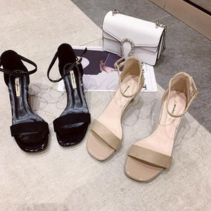 Hot Sale-2020 Summer New round Toe Sandals Stiletto High Heel Word Buckle Womens Shoes European and American Simple All-match Suede Shoes