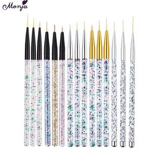 Monja Saúde beleza 3 Peças / Set multi Estilo Escova de Unhas Acrílico Art Stripe Manicure Set Pedrinhas francesa Flor de malha 3D