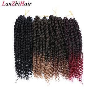 14 İnç Bahar Saç Ombre Örgü Saç 75g / pc Tığ Örgü Sentetik Saç Uzantıları Braids çevirin Kabarık Gökkuşağı Rengi Twists