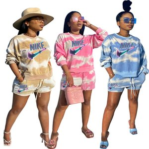 Plus size 2X summer Women brand jogger suit designer tracksuits fall two piece set long sleeve hoodies shorts casual tie dye sportswear 3445