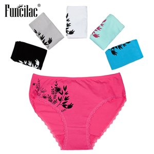FUNCILAC Plus Size Underwear Women Sexy Lace Briefs Print Panties Cotton Crotch Mid-Rise Good Quality Lingerie 2XL-4XL 5 Pcs lot CX200605