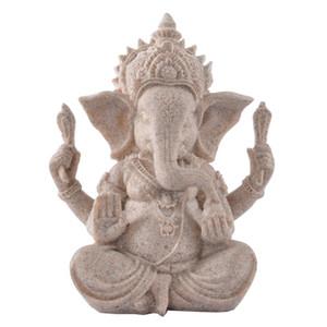 Scultura in pietra arenaria Handcarved Ganesha Dio Statua di Elephant Head Statuetta scrittorio della casa Artigianato Decorazione