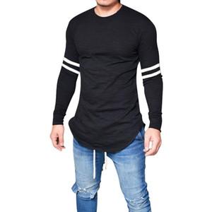 2019 Men Slim Fit Striped Printed Long Sleeve T shirt Spring Men Basic Tops Brand O neck Fitness Bodybuilding T shirt Fashion