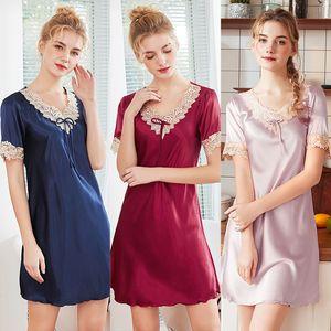 Womens Silk Sleepwear Sexy Schlaf Kleider Kurze Nachthemden Damen Pyjamas Neue Sommer Kurzarm Nachthemd Weibliche Mode Kleidung