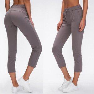 2020 crème taille cordon Sport Fitness recadrée joggeurs femmes nu-sentir tissu mi-hauteur Formation Gym Yoga Capri Pantalon