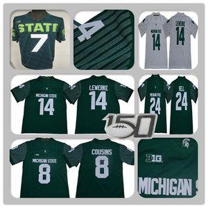 Männer Michigan State Spartans College Football MSU Jersey Rocky Lombardi Brian Lewerke LJ Scott Kirk Cousins Leveon Bell Connor Koch Benutzerdefinierte