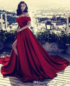 Dark Red V-neck Off The Shoulder Long Satin Evening Dresses 2020 Sexy High Split Prom Gowns Vestidos De Fiesta