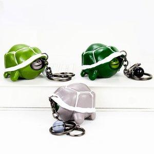 Divertido telescópica Cabeza Llavero de la tortuga de descompresión juguetes creativos anillos dominantes de dibujos animados Toy Prensa plátano colgante HHA1125 regalo