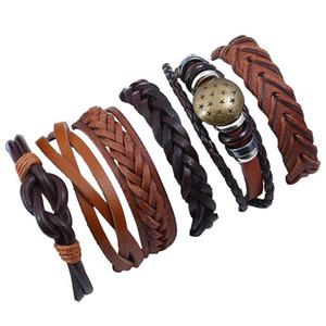 6pcs Set Braid Bracelets Fashion Multilayer Wrap Beads Cuff Bangle Vintage Mens Genuine Leather Wristbands for Women Star Charm Jewelry