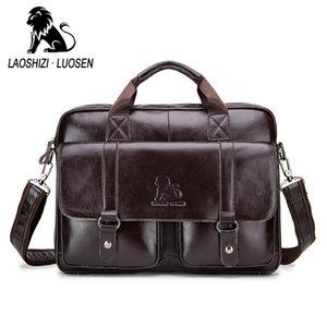 LAOSHIZI LUOSEN Vintage véritable épaule des hommes Sac en cuir Porte-documents Messenger Bag Fits 14 '' Ordinateur Portable 91503
