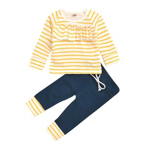 Newborn Kid Baby Girls Clothes set Long Sleeve Stripe Top Pants Spring suit Cute Sweet Lovely Outfit