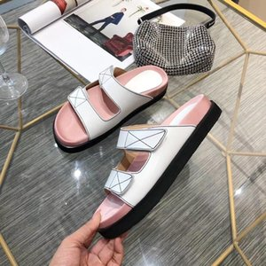Spring Summer 2020 New High-end Quality Temperament Lady Leather Sheepskin Pearl Two-color SW Slippers Size35-40
