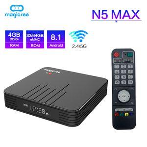 Н5 Magicsee максимум встроенный S905X3 коробки TV Андроида 9.0 с 4G 64г ПЗУ 2.4+5 ГГц двойной Беспроводной Bluetooth 4.1 смарт бокс-сет 4К приставке