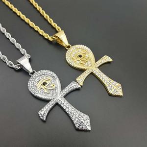 Европейский и американский New Hip Hop титановое стало Jewerly Anka крест Глаза ожерелья Horus Подвески для мужчин женщин Подарков