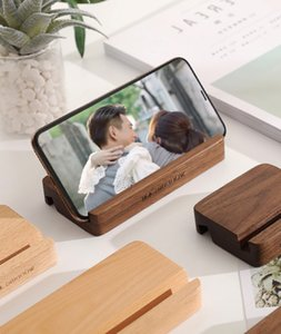 Universal mobile phone holder beech solid simple brown wooden steady creativity video general table items walnut tablet desktop