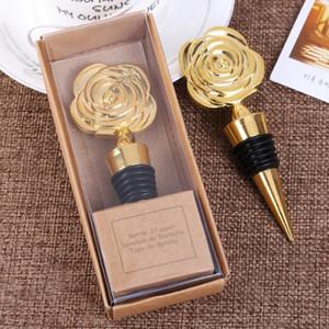 Hediye Kutuları Gül Çiçek Şarap Şişesi tıpa Düğün Eşantiyon Parti ile Altın Gül Şarap Tıpalar Misafirler için hediye Yana LX9031