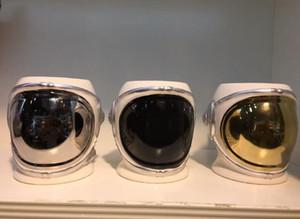 Taza de porcelana de astronauta Taza de café de casco de astronauta Taza de café de cerámica creativa Oro Plata Negro 20 oz