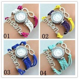 4 Color Leather Wrist watches Wrist Band Wrap Around Bracelets Watches Fashion Diamonds Dream Women Leather Bracelets Quartz Watches