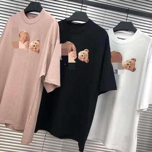 Beleza ANJOS maré urso guilhotina PALM PA T-shirt homens e mulheres em torno do pescoço manga curta