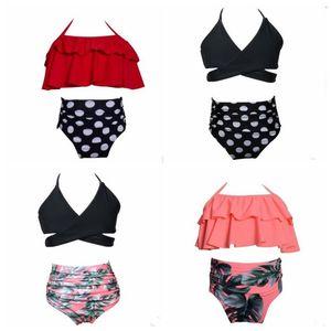 Baby Girls Swimsuits Kids Suspender Bikini Suits Sets Ruffle Sling Tops High Waist Briefs 2Pcs Sets Summer Bathing Suit Beachwear ZYQA554