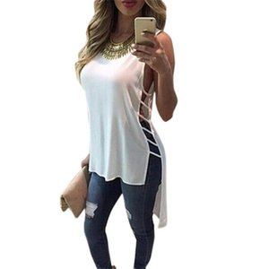 MIARHB Femmes Robe sans manches en mousseline de soie d'été Sexy Casual Débardeur Chemisier manches Débardeurs Mini robe robes T-shirt A20