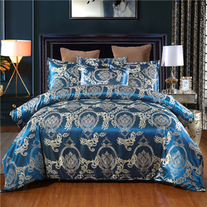 Raso jacquard Bedding Set di lusso Blue Bed Consolatore King Size Silk Bed biancheria Copripiumino Regina Stile Europeo