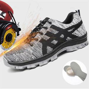 Осень Steel Toe Работа безопасности Обувь Мужская дышащий Противоскользящая Прокол ВБИ нерушимый безопасности Boots Мужчина