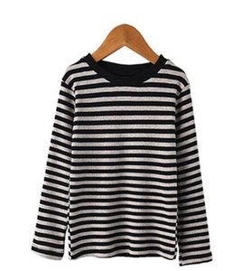 2019 Autumn winter New style children fashion Long sleeve The girl stripe Thick paragraph The wear style T-shirt