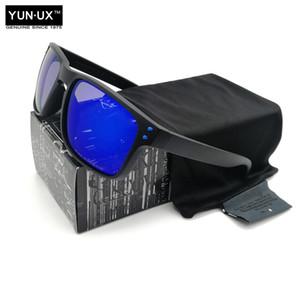 Occhiali da sole polarizzati personalizzati moda di guida per gli uomini YO92-44 Marca Occhiali neri frame Blu Mark blu Obiettivo di trasporto