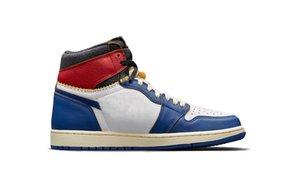 Unione 1s TOP Versione di fabbrica 1 tempesta blu Varsity Red pallacanestro scarpe da uomo formatori Nuovo 2019 Sneakers cuoio genuino con la scatola