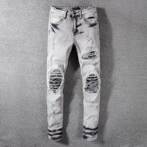 Erkek Jeans Moda Marka Delik Koyu Yıkanmış Duman Gri Denim Pantolon Sıkıntılı İnce Kalem Pantolon Erkek Tasarımcı Pantolon Ripped