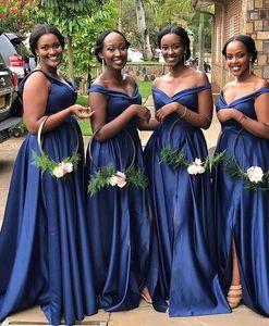 2019 kraliyet mavi afrika Uzun Mermaid Gelinlik Giydirme omuz kapalı Ucuz Hizmetçi Onur Törenlerinde yan bölünmüş Sıcak uzun Düğün Konuk Elbiseler