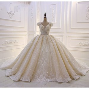 Luxe Lumière Champagne dentelle Appliqued bal robe de mariage Vintage perles à lacets Retour Sparkly pailletée Plus Size Robe de mariée